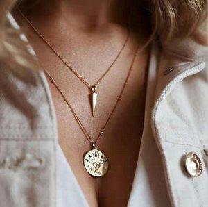 Legierung Rivet hängende Halskette für Frauen Goldfarbe Einfache Münze Layered Ketten weiblich 2020 Fashion Jewelry Claviclekette Short