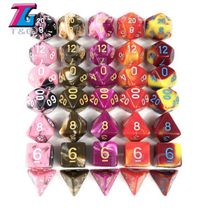 7pcs 2-color Dice Set with Nebula Effect Poker D&d Polyhedral Dice