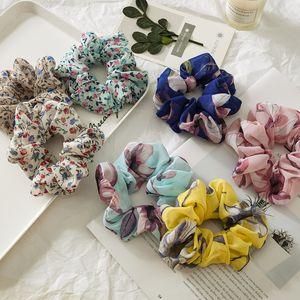 Lady Floral Scrunchies Hairband Chiffon Scrunchie Flowe Hairbands Mujeres Peluqueros Chicas Ponillo de caballo Titulares de Pelo de verano Accesorios para el cabello M1855