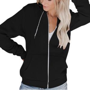 Женская осень с длинным рукавом Full Zip Hoodie Jacket Solid Color Basic Толстовка Повседневный длинным рукавом с капюшоном Толстовки
