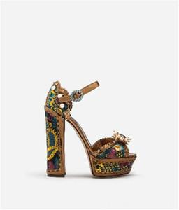 19 summer women super heel chunky heel rhinestone new printing beading waterproof platform sandals wedding shoes sexy party ladies shoes