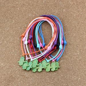 100pcs de Ouro tom verde Fátima mão metal perla o encanto cabo ajustável corda de pulso DIY Wax Bracelet tecer 10color 13.2x19.5mm C-47