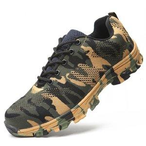 AMSHCA дышащая сетка против Hit Steel Head Мужской обуви безопасности работы проколы Латы нерушимых Загрузочной обуви Plus 36-47MX190907
