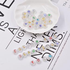 esferas 100pcs 10 milímetros Carta Beads aleatória Mixed prata acrílico Beads Ouro Branco alfabeto para DIY Colar Pulseira