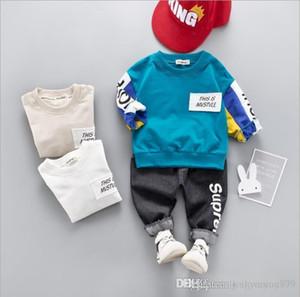 Kids Sets Kids hoodies Pants 2Pcs sets 1-4T Children Sets 4Colors Baby Boys Girls 100% Cotton Coat Pants Sets Spring Winter xhh0910-2