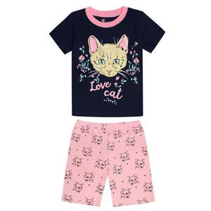 Girls Cat Printing Clothing Sets Children Clothes Kids Pajamas Sets Baby Sleepwear T-Shirt + Shorts 2pcs Clothing