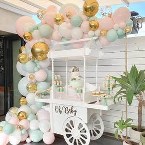 197 teile / satz Pastell Baby Rosa Macaron Ballon Garland Arch Hochzeit Brautdusche Party Hintergrund Band Wandballons Entschichtung
