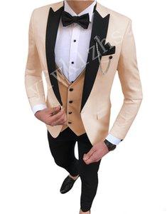 Handsome One Button Groomsmen Peak Lapel Groom Tuxedos Men Suits Wedding Prom Dinner Best Man Blazer(Jacket+Pants+Tie+Vest) W86