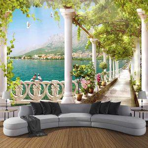 Drop Shipping Пользовательские Фото обои 3D стереоскопический Space Балкон озеро пейзаж Mural стена Картина обоях Home Decor