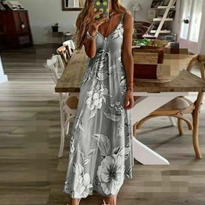 Kadınlar Uzun Boho Polyester Elbise Ayak bileği-Uzunluk Bohemian Kolsuz Çiçek Yaz Beach Kokteyl Akşam Partisi Sundress