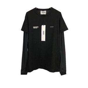 Hombre de las camisetas HELIOT EMIL falso dos piezas de manga larga de cuello redondo T-shirt Calle suelta Mujeres Ropa Casual