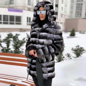 FURSARCAR Manteau de luxe Femmes Rex fourrure naturelle 75cm Toute la vraie peau manteau de fourrure d'hiver Rex avec capuche Veste