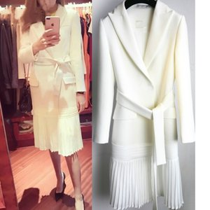 2019 new fashion women clothes turn-down collar full sleeve sashes open stitch pleated bottom