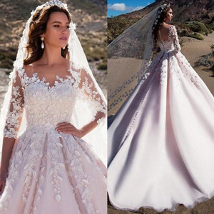 Wedding Dresses Sheer Neck 3 4 Long Sleeves Appliques Tulle Satin Saudi Arabic Wedding Gowns Castle Church Bridal Dress