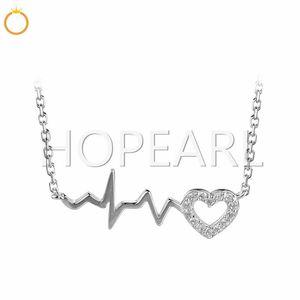 EKG Cute Life Line Heartbeat Cardiogram Necklace Zircons 925 Plata Esterlina Joyería de Moda de Estilo Coreano 5 Unidades