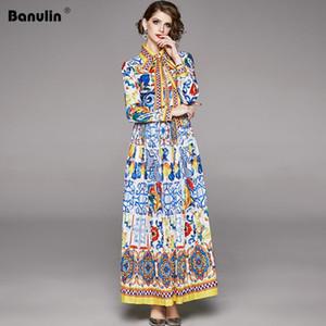 Banulin 2020 Spring Fashion Designer Maxi Vestido da Mulher Manga Boho Bow colorido Flor Imprimir férias longo vestido plissado