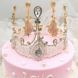 Gelin Doğum Günü Pastası Kristal Taç El yapımı Vintage Kraliçe Köpüklü Headdress