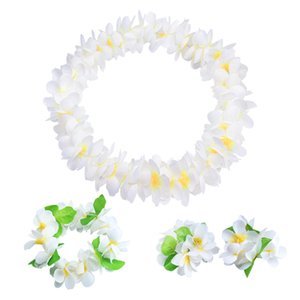 Artificial Hawaiian Party Decorations Garland Bracelet Headband Necklace Flower Leis Flowers DIY Wreath Birthday Party Decor Pet Supplies
