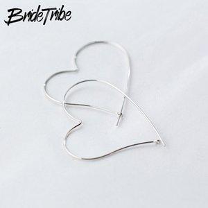 Bridetribe 100% 925 Sterling Silver Unique Big Heart Shaped Piercing Hoop Earrings For Women Girls Love Gifts Huggie Hoops Plata