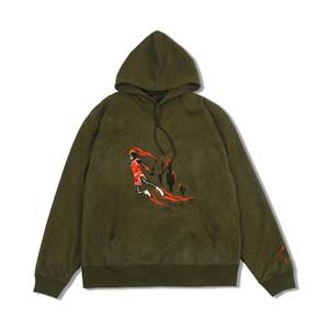 Marca con cappuccio Mens Designer con cappuccio Travis Scott dell'esercito maglione verde cactus Fiamma di pallacanestro di modo Felpa con cappuccio a maniche lunghe Pullover