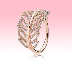 Alta qualidade Rose banhado a ouro jóias anéis mulheres presente de casamento Meninas de Pandora real 925 Silver Light Feather Anel wiht caixa Original
