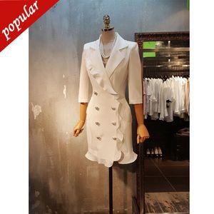 Vestidos Blazer breasted doble-ol Negro Blanco Sólido Blazer vestido de mujer elegante chaqueta volante Blazer resorte del otoño