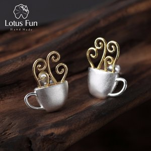 Lotus Fun Real 925 Sterling Silver Earrings Original Handmade Fine Jewelry Hot Coffee Cup Fashion Stud Earrings for Women Gift CX200628