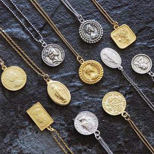 Presente de Natal Declaração Coin Colares do Choker Kolye encanto do ouro Minimalismo Vintage Boho Bijoux Collier Mulheres Colar Jóias