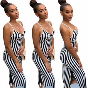 Elbiseler Moda Doğal Renk Bölünmüş Elbise Günlük Kolsuz V-Yaka Elbiseler Kadın Giyim Kadın Tasarımcısı Striped yazdır