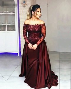 Full Sleeves Lace Off Shoulder Mermaid Prom Dresses strapless Long sleeves Beading Satin Elegant Burgundy Formal Party Evening Dress 2020