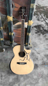 Custom AAAAALL Solid Wood Rosewood Maple Binding Abalone Wood Fingerboard Acoustic Guitar with Electronic Pickup EQ free shipping