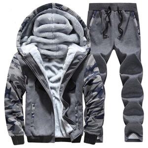 OLOEY Wintersport Anzug Warm Velvet Casual Men Sportwear Sets Eindickung Trainingsanzüge Hoodie Sweat Suit Anzug Set Plus Size