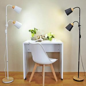Lámparas nórdica lámpara de suelo de madera sencilla E27 LED de la personalidad de hierro forjado de suelo ajustable vertical para vivir estudio del dormitorio del sitio