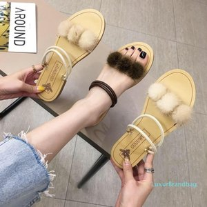 Pretty2019 Liuhang Xia Two Flat Bottom Slipper Joker Fairy Outside The Wool Ball Clothes Sandals Beach Shoes 515-23