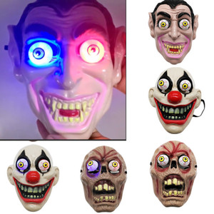 Led Light Halloween Horror Mask For Clown Vampire Eye Mask Cosplay Costume Theme Makeup Performance Masquerade Full Face Party Mask HH9-2407