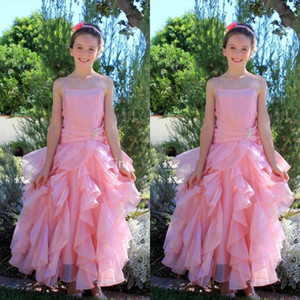 Princess Puffy Girl's Pageant Dresses Sequins Beaded Flower Girl Dresses Ruffles Lace-Up Back Girls Prom Birthday Party Communion Gowns