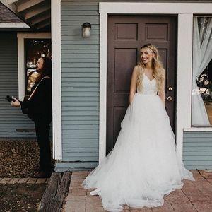 Hippie Bride Wedding Dresses Boho Spaghetti Straps Lace Tulle A Line Bohemian Bridal Gowns Boho Country Vestidos De Noiva