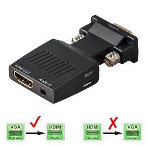 Convertitore VGA maschio a HDMI femmina con cavi adattatore audio 1080P per proiettore HDTV Proiettore PC PS3