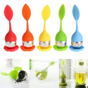 Silikon-Tee-Blatt-Make Teebeutel Filter Sieb mit Tropfen Tray Edelstahl Teesiebe