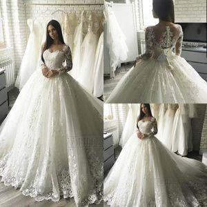 Ivory Ball Robe De Mariée Robes De Mariée À Manches Longues Dentelle Applique Princesse balaye Train Bridal Robes de mariée Plus Taille Robe de mariée