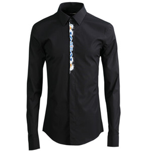Solid Color Fashion Placket Embroidered Dress Shirt Long Sleeve Luxury Mens Shirts Casual Men Clothes