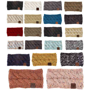 Elastico traspirante caldo di inverno colorato fascia femminile con il logo del Donne inverno lavorato a maglia fascia Con Dot fiore Hairband DH0817 T03