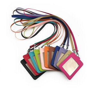 wholesale PU leather card holder ID card case with strap bus credit Bank Card ID holder lanyard