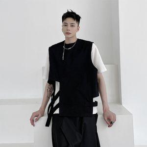 Мужчины Dark Black Streetwear Свободный жилет Пальто Мужской Женщины Hip Hop Punk Жилет Куртка Stage Одежда