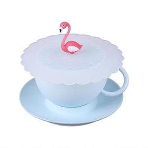 الإبداعية فلامنغو مكافحة الغبار قابلة لإعادة الاستخدام سيليكون القهوة القدح كأس الزجاج غطاء غطاء غطاء كأس الملحقات