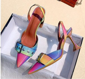 size 34 to 42 rainbow gladient color high heels sling back pumps dress shoes fashion women designer pumps wedding shoes 9cm