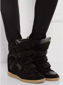 Hot Sale-Schwarz-echtes Leder Isabel Bekett Leder-getrimmten Wildleder mit Keil Turnschuhe Frauen Marant Modenschau Paris Neue Schuhe