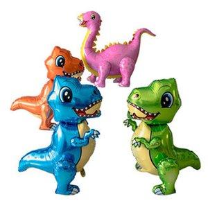 1pcs 4D dinosaur balloons foil standing green dinosaur Red dragon birthday deco party supplies boy kids toys helium globals