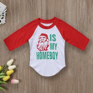 크리스마스 어린이 아기 소년 크리스마스 산타 클로스 의상 옷 T 셔츠 셔츠 탑