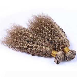 A Piano Color #8 613 Peruvian Deep Curly Human Hair Wefts 3Pcs Light Brown Blonde Mix Color Virgin Remy Hair Weave Bundles Piano Mixed